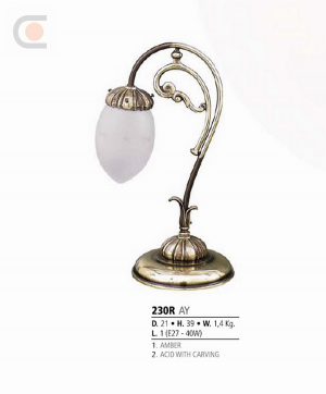 Riperlamp 230R 01.AA-AB-AE-AH-AM-AQ-AY-BG-BJ-BQ-CJ AMBER/ACID WITH CARVING