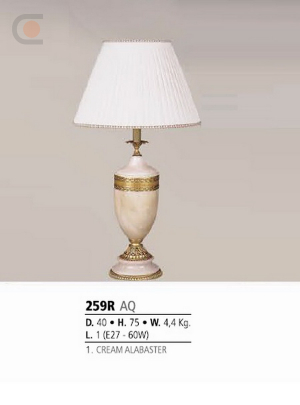 Riperlamp 259R 01.AA-AB-AE-AH-AM-AQ-AY-BG-BJ-BQ-CJ CREAM ALABASTER - CREAM SHADE
