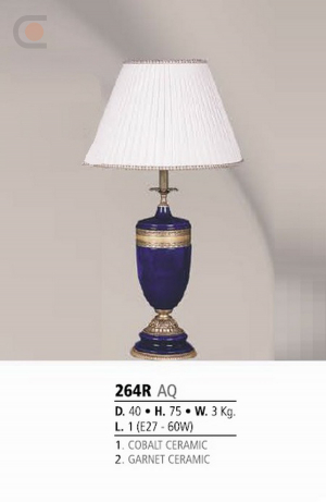 Riperlamp 264R 01.AA-AB-AE-AH-AM-AQ-AY-BG-BJ-BQ-CJ COBALT/GARNET CERAMIC - CREAM SHADE